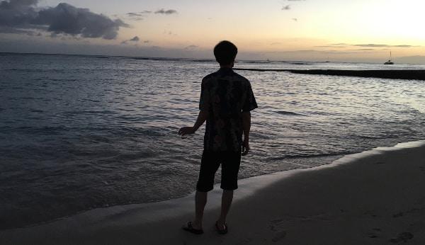 シェラトン・ワイキキのビーチにて