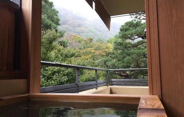 翠嵐のスイートルーム「暁露」の温泉風呂からの眺め