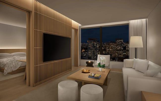 東京エディション虎ノ門の客室客室「スーペリアスイート・1キングベッド・シティビュー」